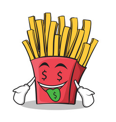 Money mouth french fries cartoon character vector