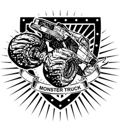 monster truck shield vector image vector image
