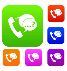phone sign and support speech bubbles set vector image