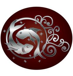 Pisces zodiac sign in circle frame vector