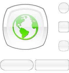 Planet white button vector