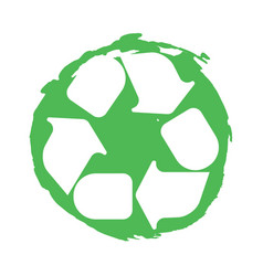 recycling symbol white on green vector image vector image
