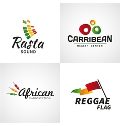 Set of african rastafari sound logo designs vector image vector image