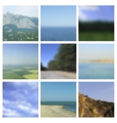 Set of blurred landscapes travel badge vector