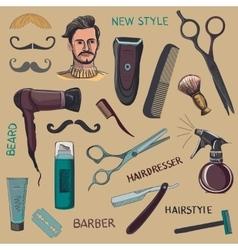 Set of vintage barber shop elements vector image