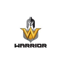 Spartan warrior helmet shield w retro vector