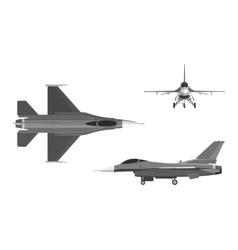 The image of military aircraft Three views vector image