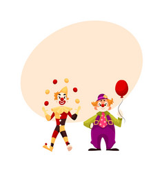 Two cheerful clown on a holiday vector