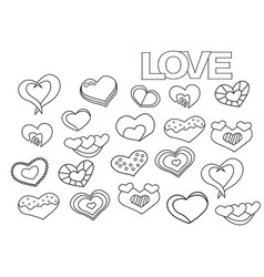 valentine day hearts set coloring book page vector image vector image