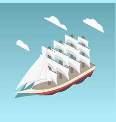 vintage sailing ship isometric vector image vector image