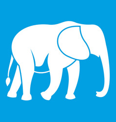 Wild elephant icon white vector