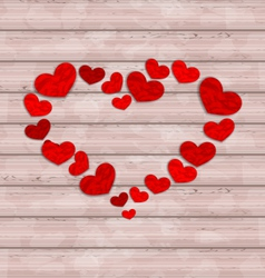 Wooden background with frame made in hearts for vector image