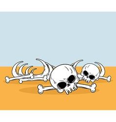 Skeleton in desert Skull and bones lying on yellow vector image