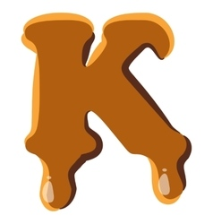 Letter k from caramel icon vector