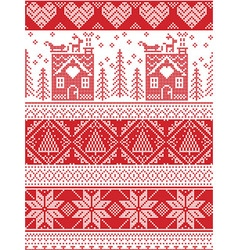 Tall xmas pattern with gingerbread house vector