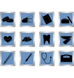 Medical icons on square buttons vector