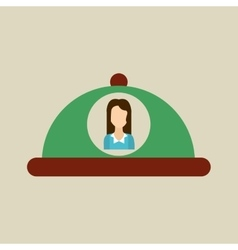 Platter serving food icon woman vector