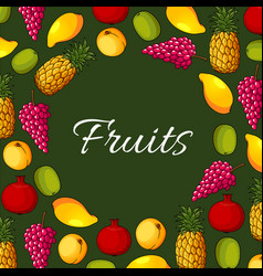 fresh exotic fruits poster vector image