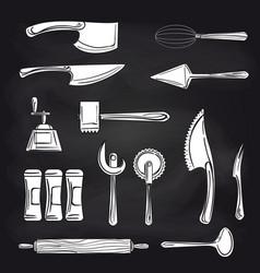cutlery on chalkboard background vector image