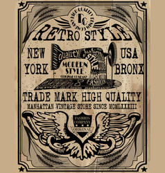 vintage label design tee graphic vector image