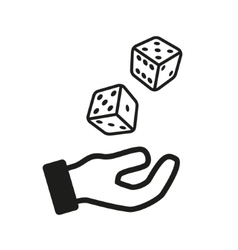 Male hand rolling dice isolated on white vector