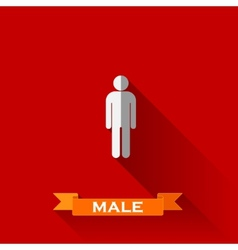 A male sign in flat design style with long shadows vector