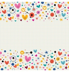 Hearts dots and stars funky note paper retro vector