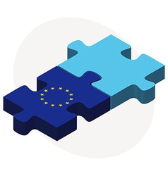 European union and fiji flags in puzzle isolated vector