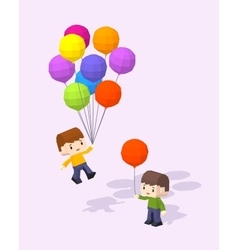 Cube world boys with the colored baloons vector