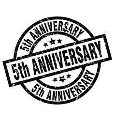 5th anniversary round grunge black stamp vector