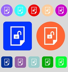 File locked icon sign 12 colored buttons flat vector