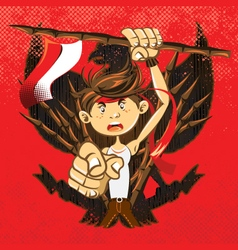 Indonesian national heroes patriot warrior vector