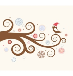 Christmas card bird vector