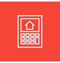 Calculator with house on display line icon vector