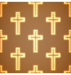 Glowing religious crosses seamless pattern vector