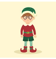 Elf christmas glasses boy vector