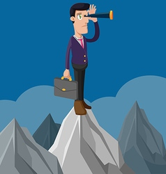 Business Man Stand Look Mountain vector image
