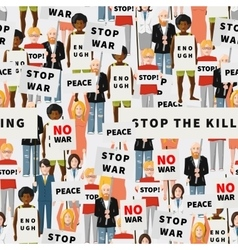 Antiwar demonstration crowd of flat people vector