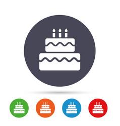 birthday cake sign icon burning candles symbol vector image