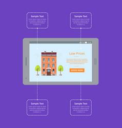 booking hotel room via internet poster vector image vector image