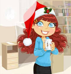 Business woman in Christmas morning office vector image