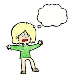 Cartoon unhappy person with thought bubble vector