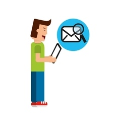 Character boy with tablet email searching vector
