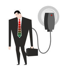 Charging for businessman man in suit and charger vector