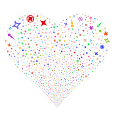 confetti stars fireworks heart vector image vector image