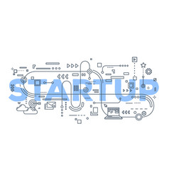 Creative of business startup word vector