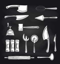 cutlery on chalkboard background vector image vector image