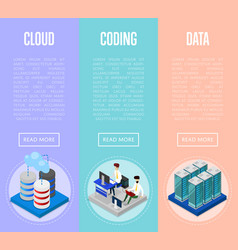 Data cloud coding and administration posters vector