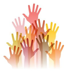 different up hands vector image vector image