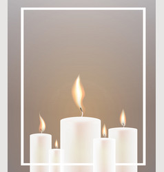Five candle flame and white frame vector